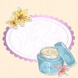 Tarjeta del tarro de la crema del maquillaje de Skincare stock de ilustración