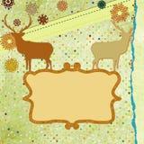 Tarjeta del tempate de los ciervos de la Navidad. EPS 8 Foto de archivo