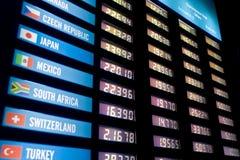 Tarjeta del tipo de cambio de dinero en circulación Imagenes de archivo