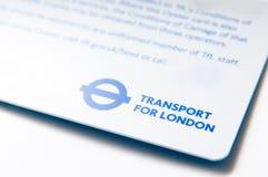Tarjeta del transporte de Londres Foto de archivo