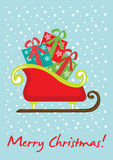 Tarjeta del trineo de la Navidad Fotografía de archivo libre de regalías