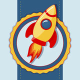 Tarjeta del vector con el cohete de espacio. Imágenes de archivo libres de regalías