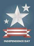 Tarjeta del vector con el Día de la Independencia de América Imagenes de archivo