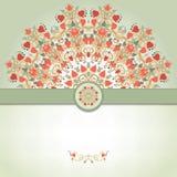 Tarjeta del vector con el estampado de flores y la cinta redondos Fotos de archivo