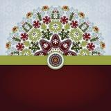 Tarjeta del vector con el estampado de flores y la cinta redondos Imagen de archivo libre de regalías