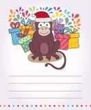Tarjeta del vector con el mono divertido, mono feliz del ejemplo para los niños Feliz Año Nuevo 2016 de la postal Imágenes de archivo libres de regalías