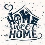 Tarjeta del vector con la casa abstracta linda Letras de la escritura con el hogar inspirado del dulce del hogar de la frase stock de ilustración