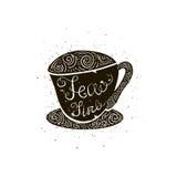 Tarjeta del vector con la silueta de la taza texto escrito de la mano - tiempo del té Fondo con estilo de la vendimia Poner letra Foto de archivo libre de regalías