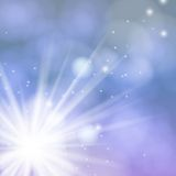 Tarjeta del vector con las luces y la nieve de Chrismas Fotografía de archivo libre de regalías
