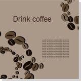 Tarjeta del vector con los granos de café Imágenes de archivo libres de regalías