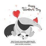 Tarjeta del vector del día de tarjeta del día de San Valentín con el comedor y el corazón lindos de la hormiga ilustración del vector
