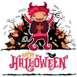 Tarjeta del vector de Halloween Muchacho en traje del diablo Serie de los niños Foto de archivo libre de regalías