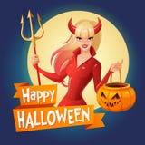 Tarjeta del vector de Halloween Señora atractiva en el traje rojo de Halloween de un diablo con los cuernos y del tridente que so Fotografía de archivo