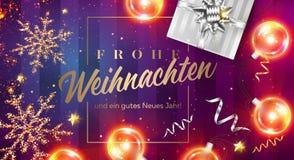 Tarjeta del vector de Jahr de los neues de los gutes del ein del und de Frohe Weihnachten stock de ilustración