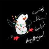 Tarjeta del vector de la danza del pingüino de la Feliz Año Nuevo stock de ilustración