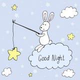 Tarjeta del vector de las buenas noches con el conejo lindo Impresión del vector Foto de archivo libre de regalías
