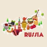 Tarjeta del vector de Rusia Cartel ruso con el mapa concepto del recorrido Imagenes de archivo
