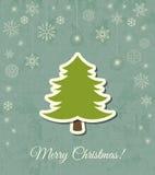 Tarjeta del vector del árbol de navidad Fotos de archivo