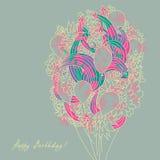 Tarjeta del vector del cumpleaños Fotografía de archivo