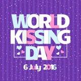 Tarjeta del vector del día del mundo que se besa Celebre besar día con los corazones stock de ilustración