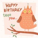 Tarjeta del vector del feliz cumpleaños con el búho Fotografía de archivo