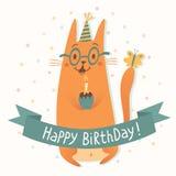 Tarjeta del vector del feliz cumpleaños con un gato Imágenes de archivo libres de regalías