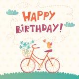 Tarjeta del vector del feliz cumpleaños con una bicicleta Foto de archivo