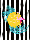 Tarjeta del vector del verano Flamenco y hojas de palma Fondo del ejemplo Fotos de archivo