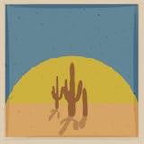 Tarjeta del vector del vintage con el cactus Imágenes de archivo libres de regalías