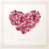Tarjeta del vector del vintage con el corazón floral Imagen de archivo