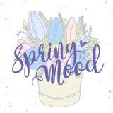 Tarjeta del vector, ramo de la primavera con palabras Imagen de archivo libre de regalías