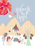 Tarjeta del viaje con las letras de la mano - recepción a Egipto y a la imagen del arte del desierto egipcio libre illustration
