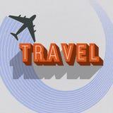 Tarjeta del viaje del vintage con el avión Foto de archivo
