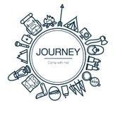 Tarjeta del viaje Fondo con los iconos del viaje Imagenes de archivo