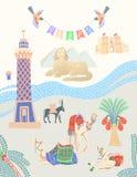 Tarjeta del viaje sobre Egipto, grandes lugares egipcios famosos en Giza stock de ilustración