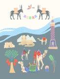 Tarjeta del viaje sobre Egipto, grandes lugares egipcios famosos libre illustration