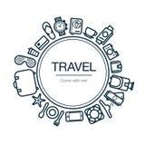 Tarjeta del viaje y del ocio Fondo con los iconos Fotografía de archivo