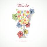 Tarjeta del vino con el restaurante abstracto del menú Stock de ilustración