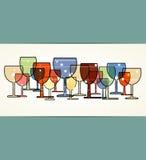 Tarjeta del vino de la correspondencia del menú con el fondo de cristal Stock de ilustración