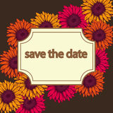 Tarjeta del vintage con colores amarillos y anaranjados del rosa del gerbera de las flores stock de ilustración