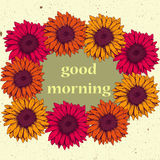 Tarjeta del vintage con colores amarillos y anaranjados del rosa del gerbera de las flores Foto de archivo