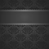 Tarjeta del vintage con el fondo del damasco, diseño negro de lujo Fotografía de archivo libre de regalías
