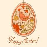 Tarjeta del vintage con el huevo de Pascua