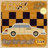 Tarjeta del vintage con la imagen de los taxis viejos Imagen de archivo libre de regalías