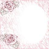 Tarjeta del vintage con las rosas stock de ilustración