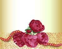 Tarjeta del vintage con las rosas rojas y las perlas rosadas ilustración del vector