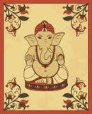 Tarjeta del vintage con Lord Ganesha Imagenes de archivo