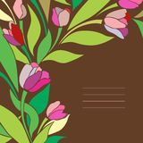 Tarjeta del vintage con los tulipanes Fotografía de archivo libre de regalías