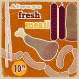 Tarjeta del vintage con una imagen de los productos de carne Imágenes de archivo libres de regalías