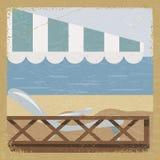 Tarjeta del vintage con una opinión del mar Imagen de archivo libre de regalías
